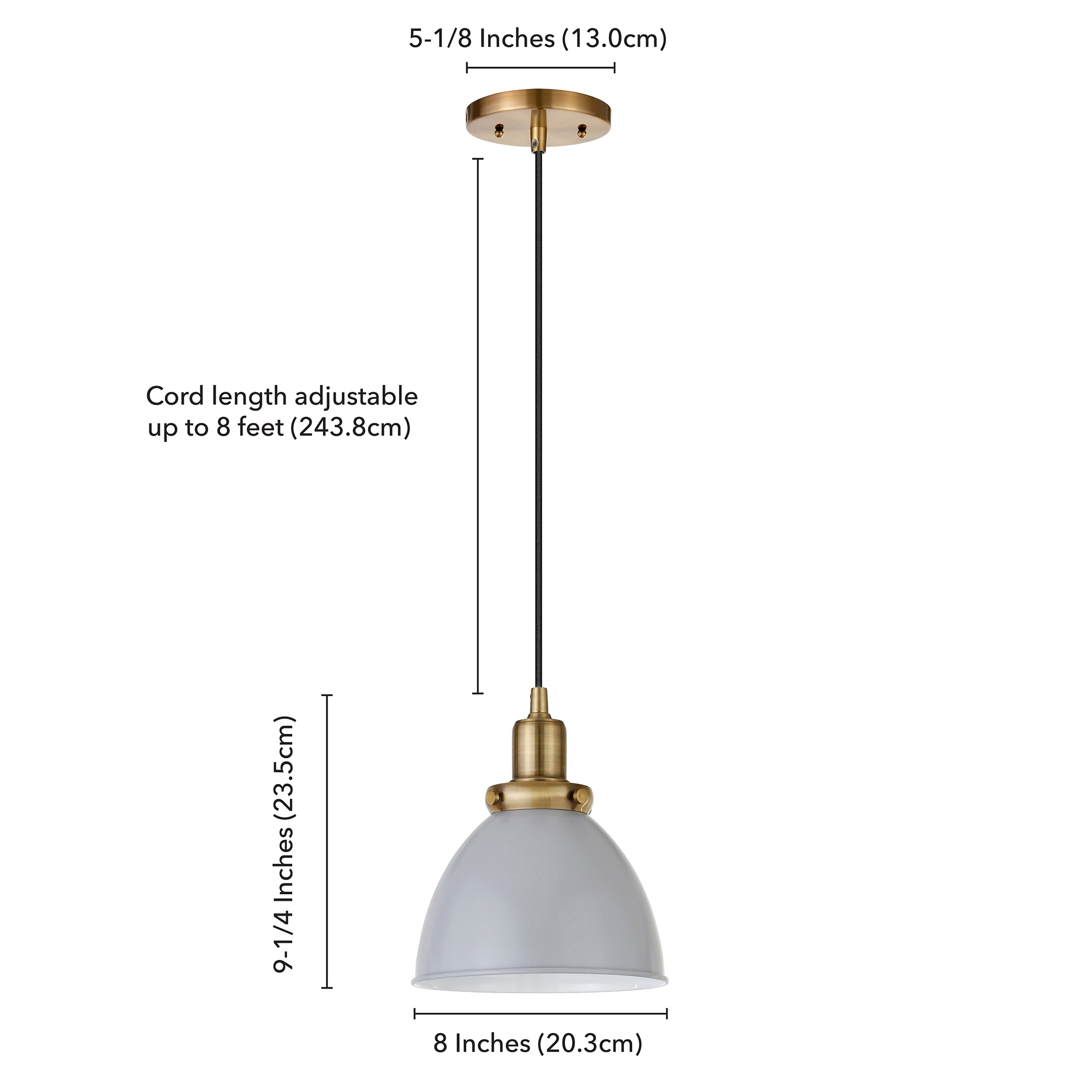 Marsden Pendant in Cool Gray and Brass
