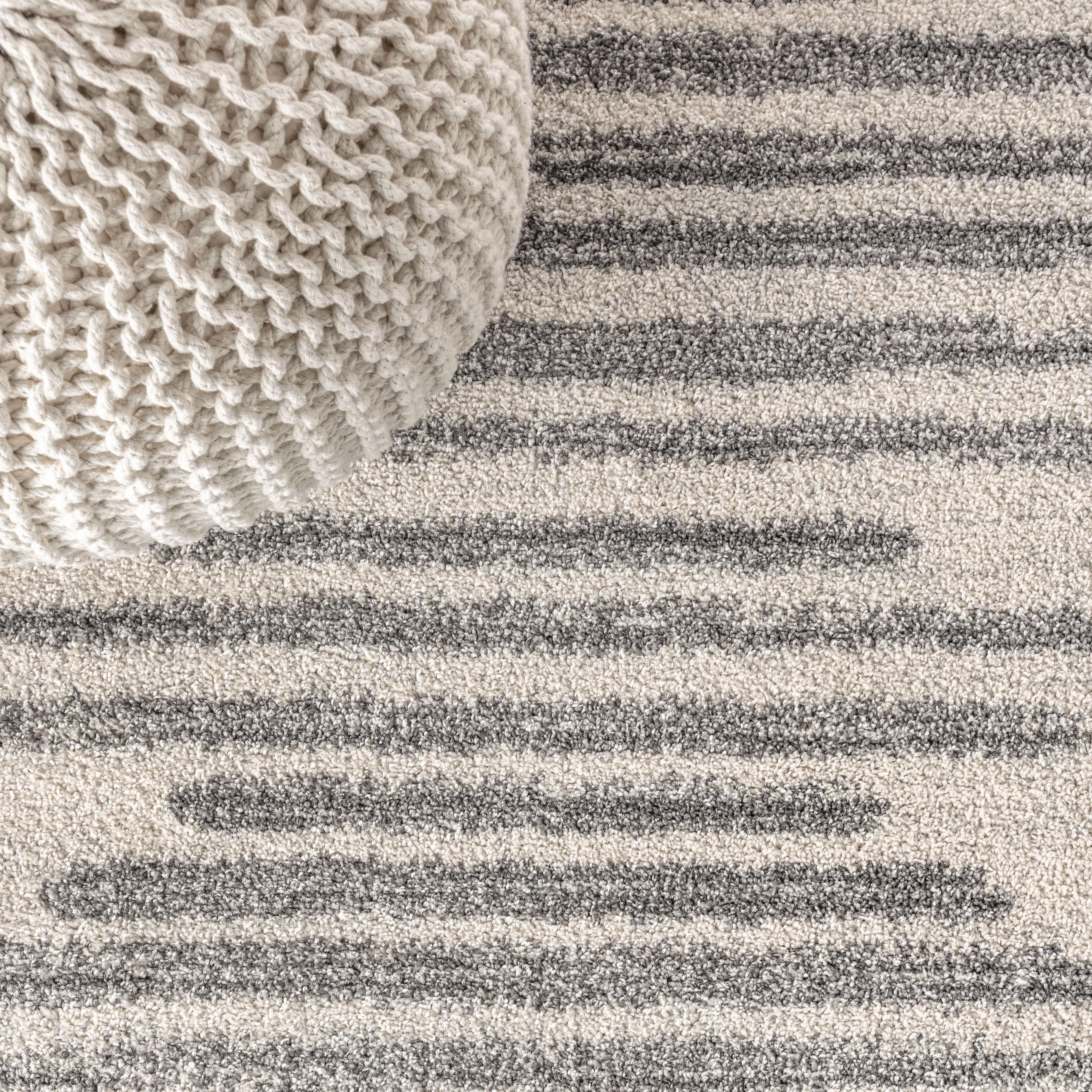 Aya Berber Stripe Geometric Cream/Gray 5 ft. x 8 ft. Area Rug