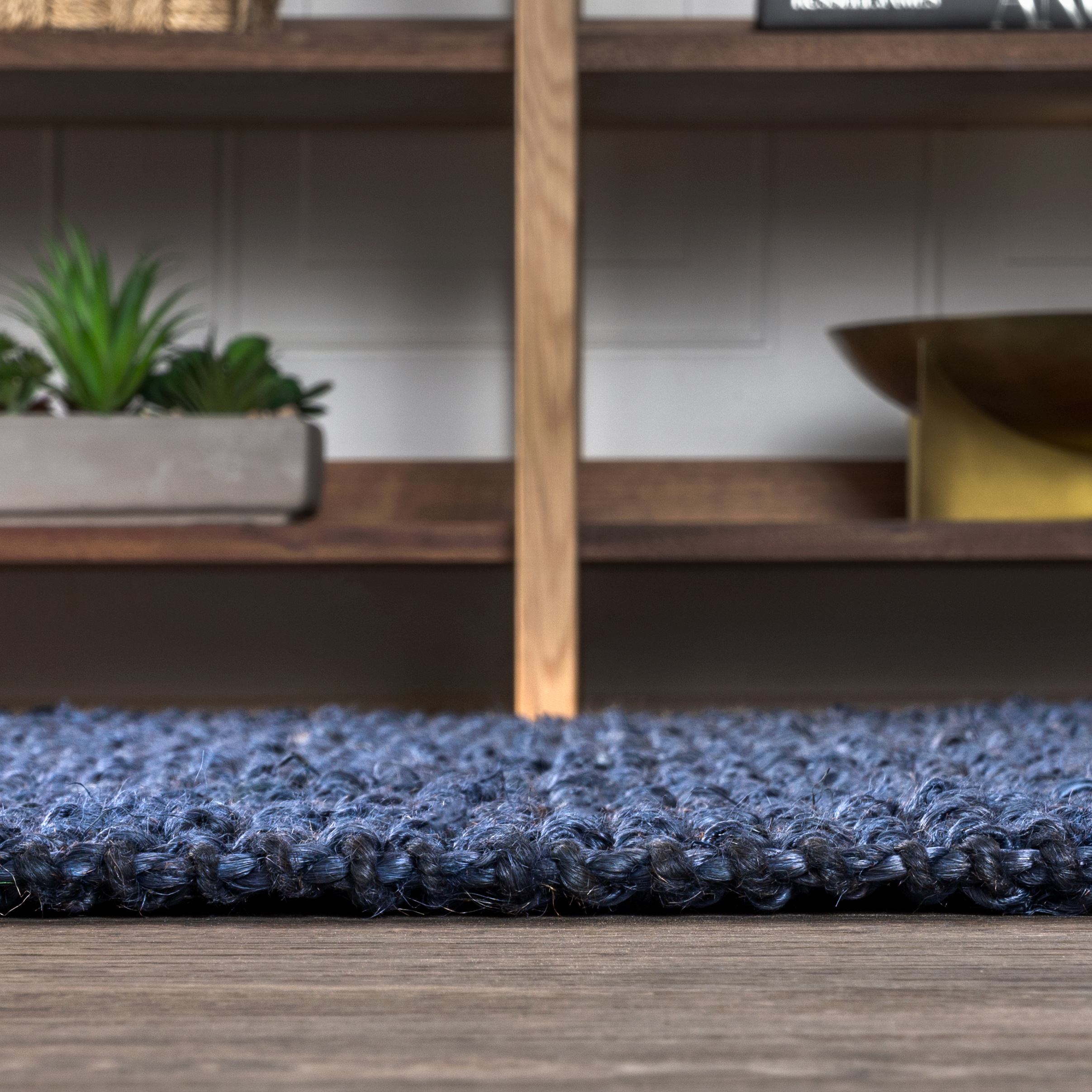 Pata Hand Woven Chunky Jute Navy 5 ft. x 8 ft. Area Rug
