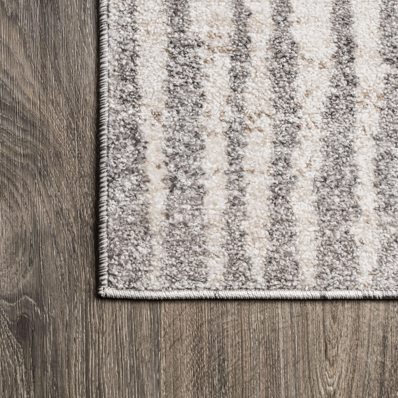 Skoura Modern Bold Stripe Beige/Dark Gray 5 ft. x 8 ft. Area Rug