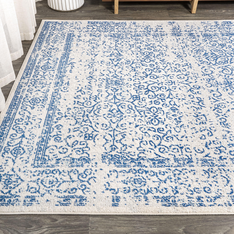 Azul Filigree Blue and White Cream/Blue 3 ft. x 5 ft. Area Rug