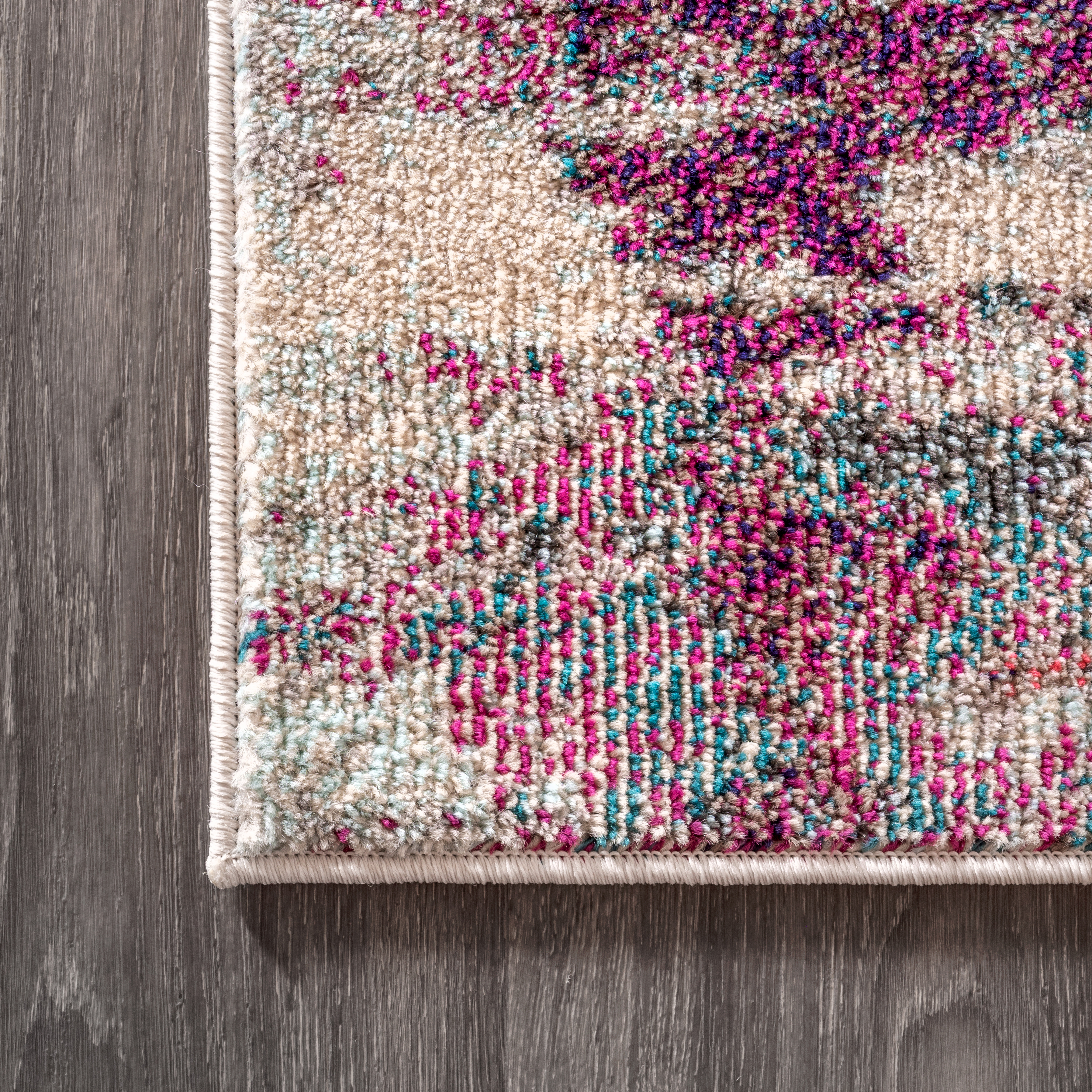 Contemporary POP Modern Abstract Brushstroke Cream/Pink 2 ft. x 8 ft. Runner Rug