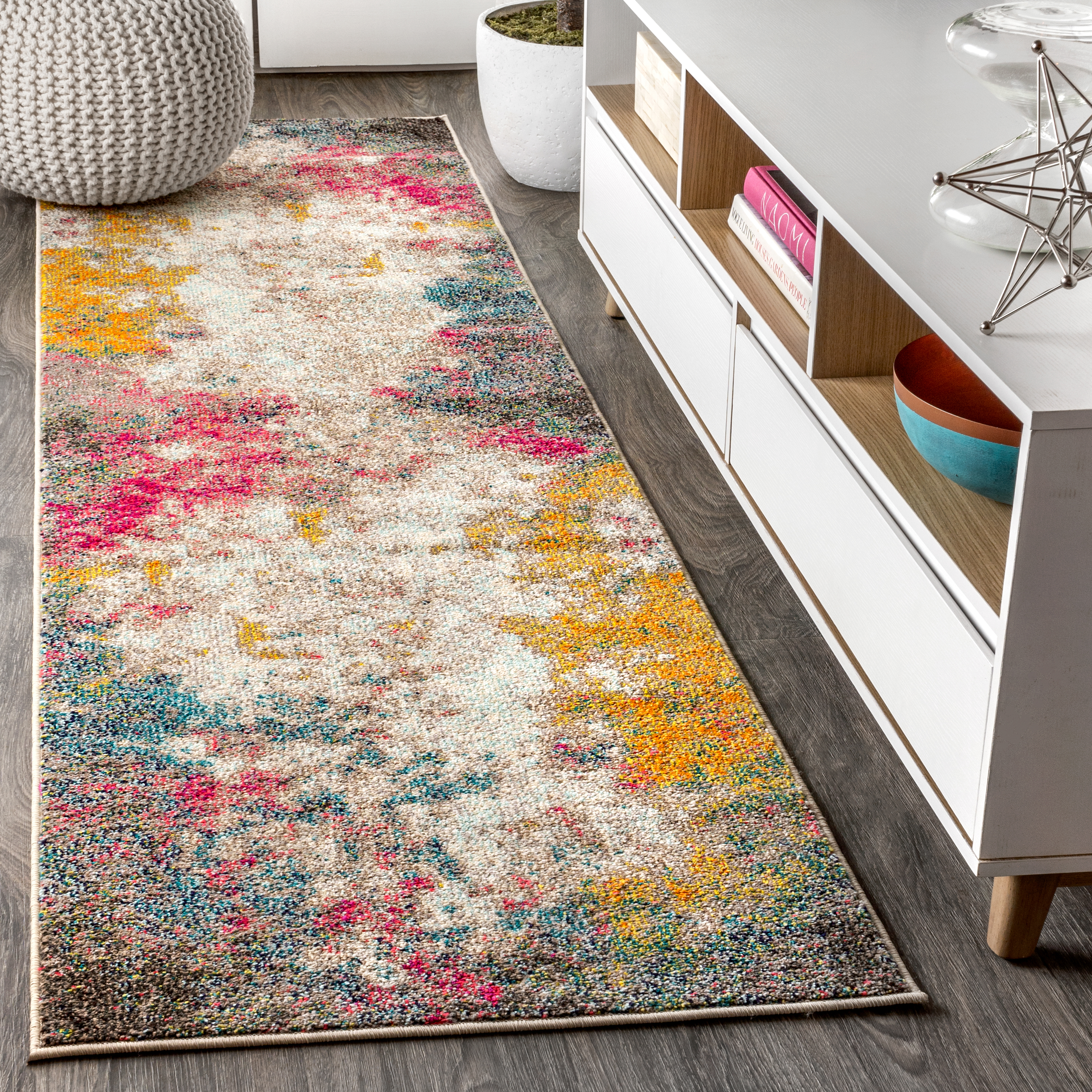 Contemporary POP Modern Abstract Multi/Yellow 2 ft. x 8 ft. Runner Rug