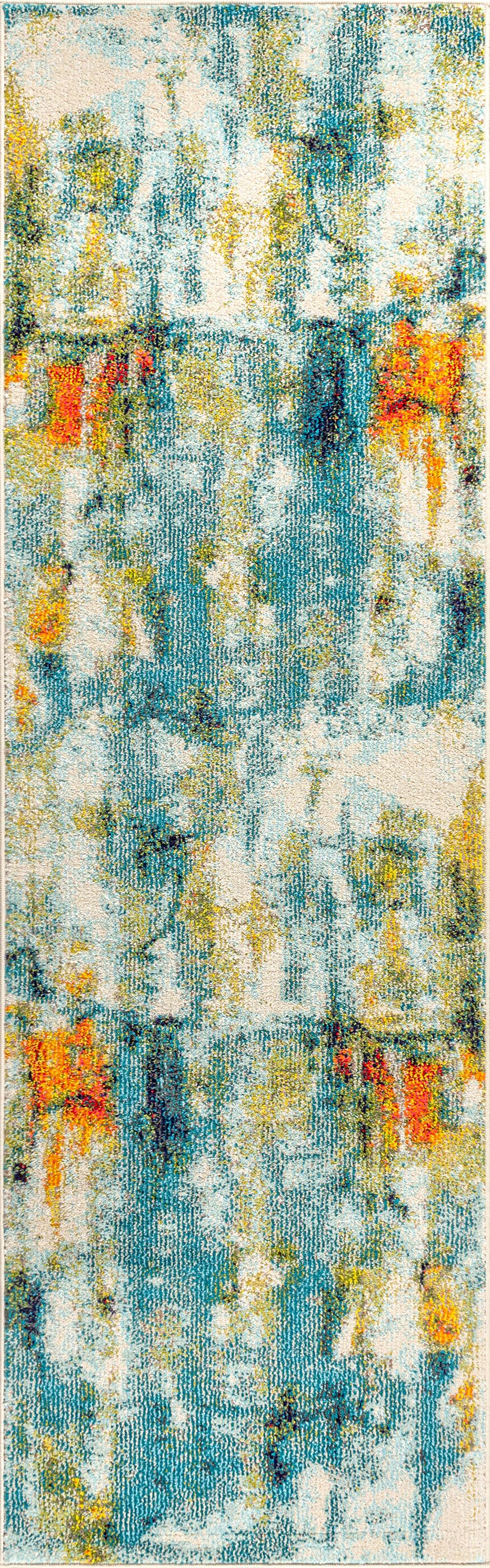 Contemporary POP Modern Abstract Waterfall Blue/Cream 2 ft. x 8 ft. Runner Rug