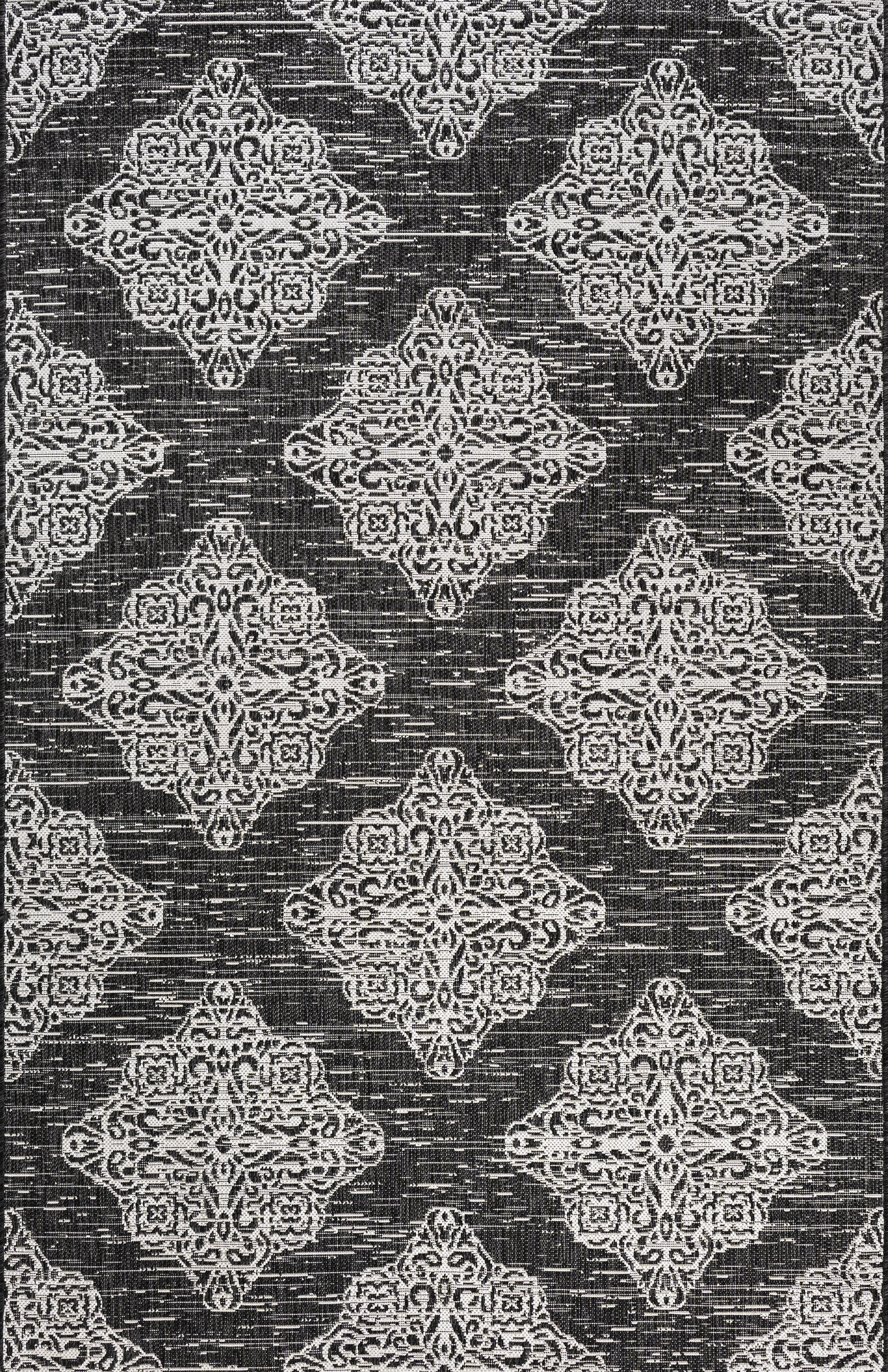 Tuscany Ornate Medallions Indoor/Outdoor Black/Ivory 5 ft. x 8 ft. Area Rug