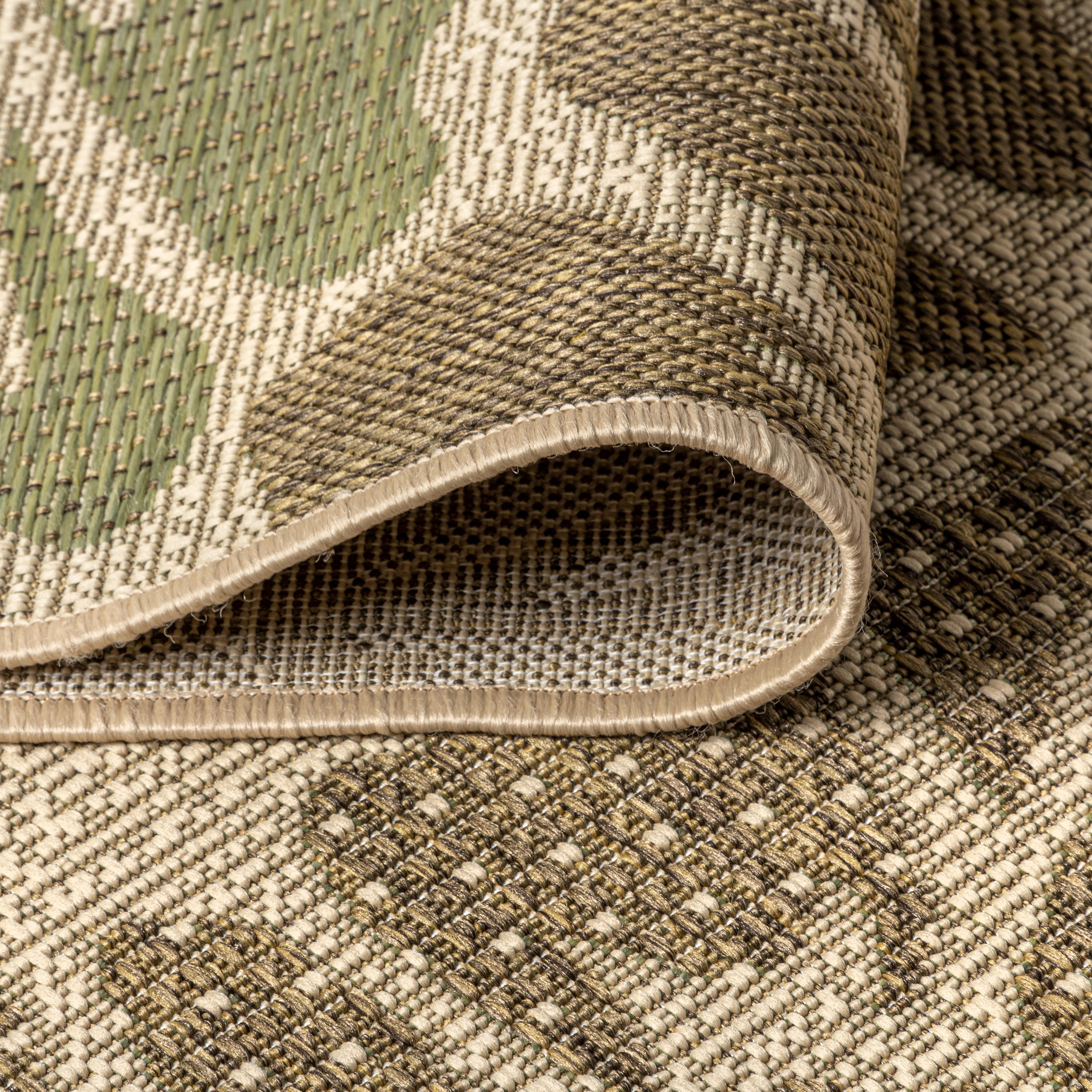 Zinnia Modern Floral Textured Weave Indoor/Outdoor Sage/Brown 5 ft. x 8 ft. Area Rug