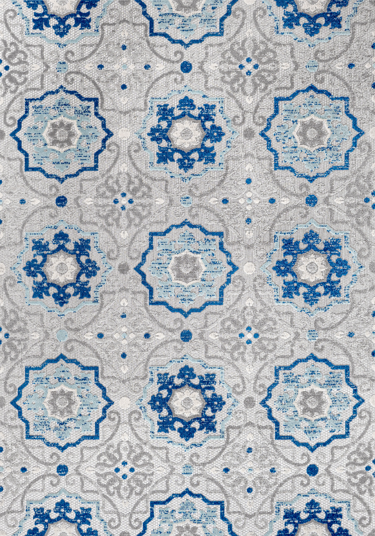 Mediterranean Medallion Indoor/Outdoor Blue/Gray 3 ft. x 5 ft. Area Rug