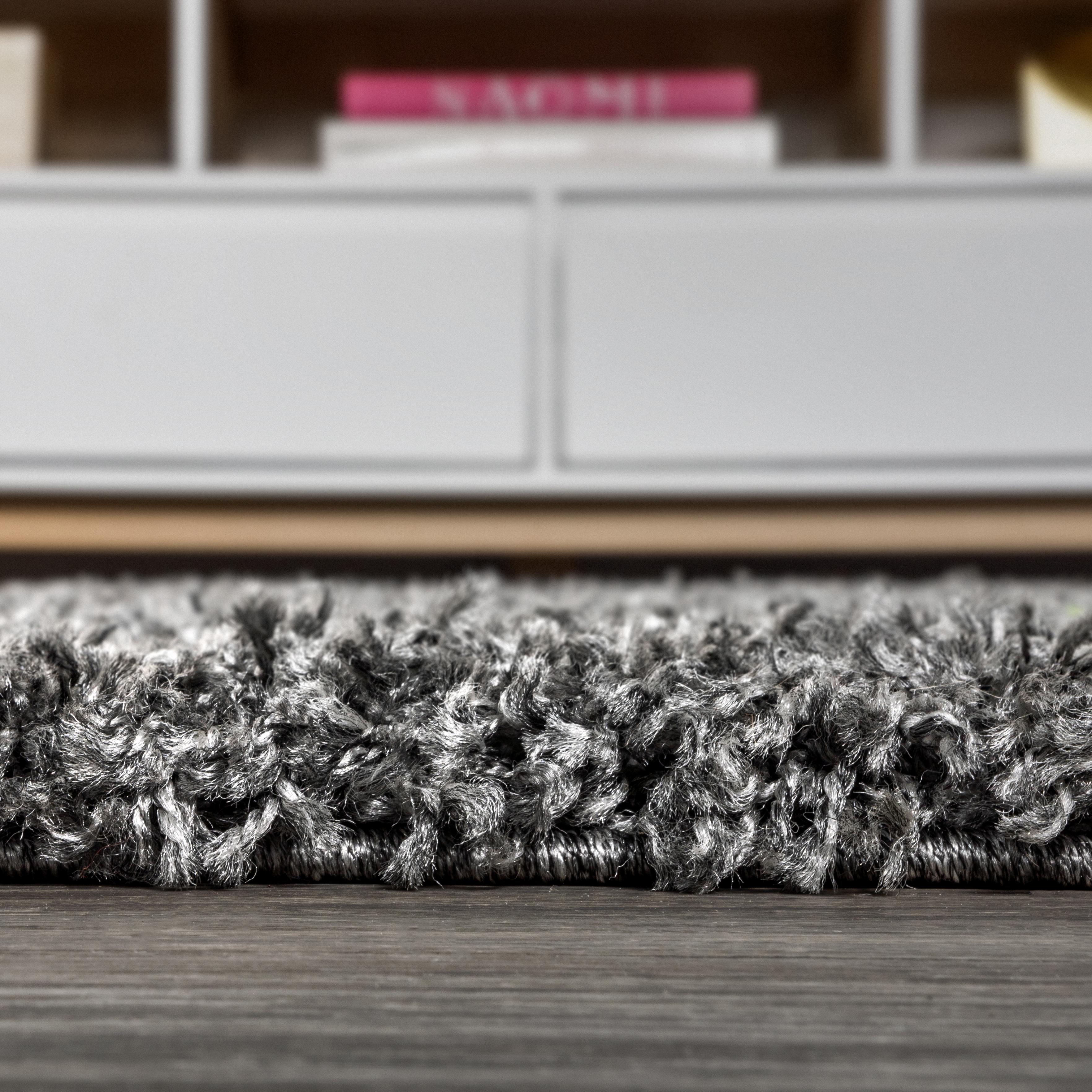 Mercer Shag Plush Tassel Charcoal 2 ft. x 8 ft. Runner Rug