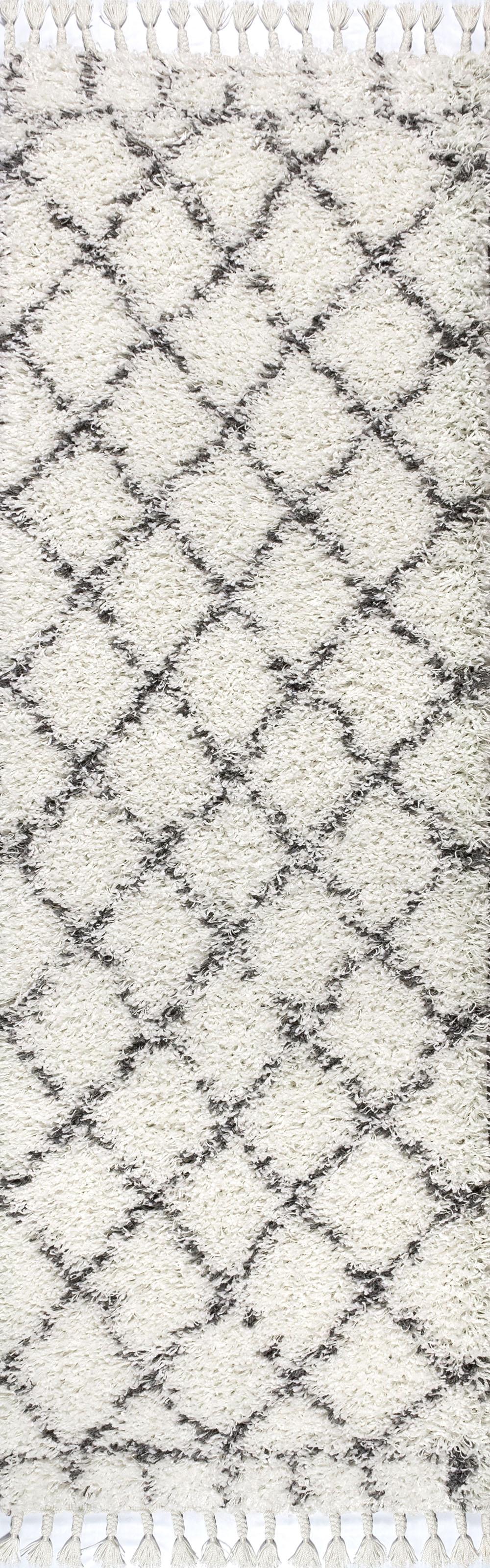 Mercer Shag Plush Tassel Moroccan Geometric Trellis Cream/Grey 2 ft. x 8 ft. Runner Rug