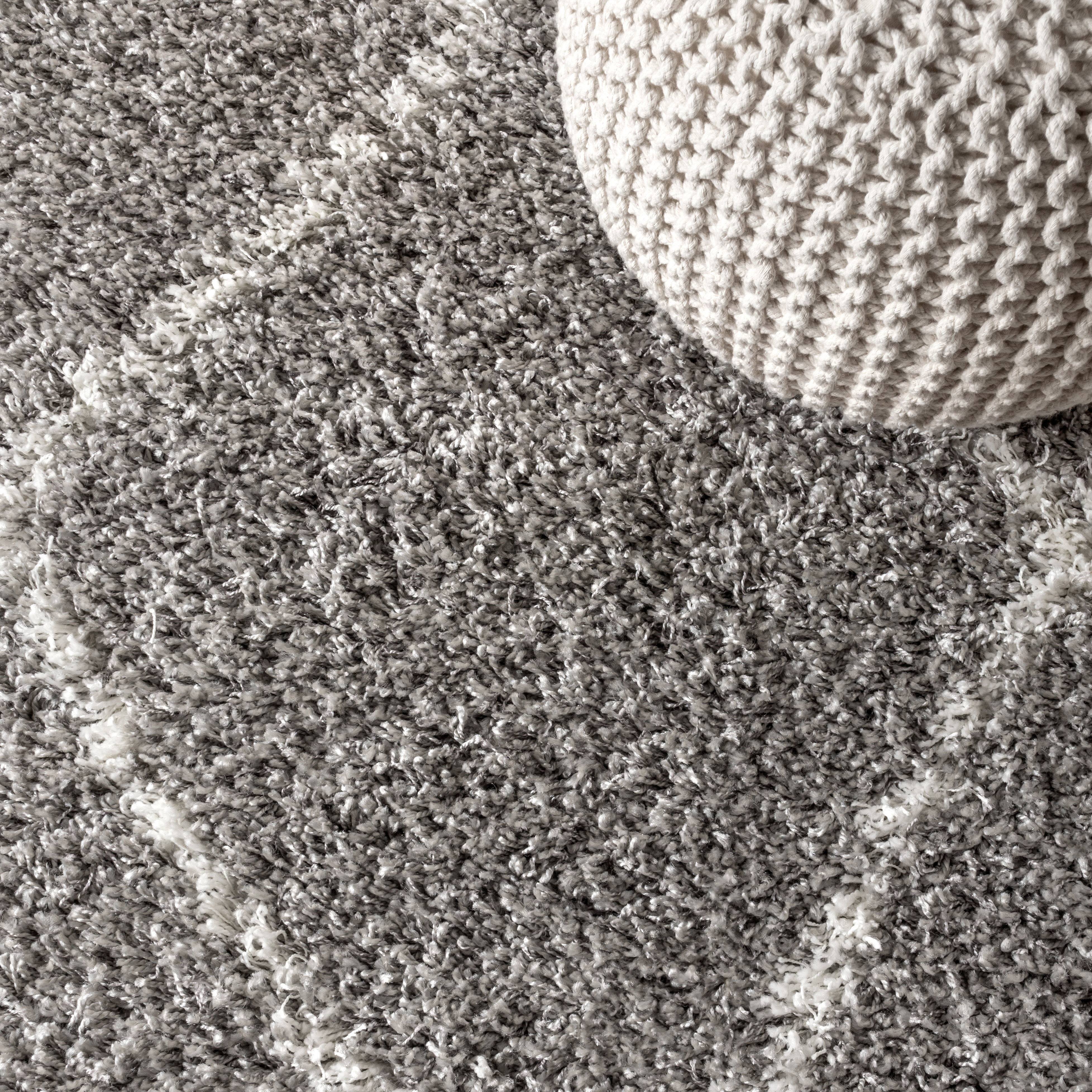 Mercer Shag Plush Tassel Moroccan Geometric Trellis Grey/Cream 3 ft. x 5 ft. Area Rug