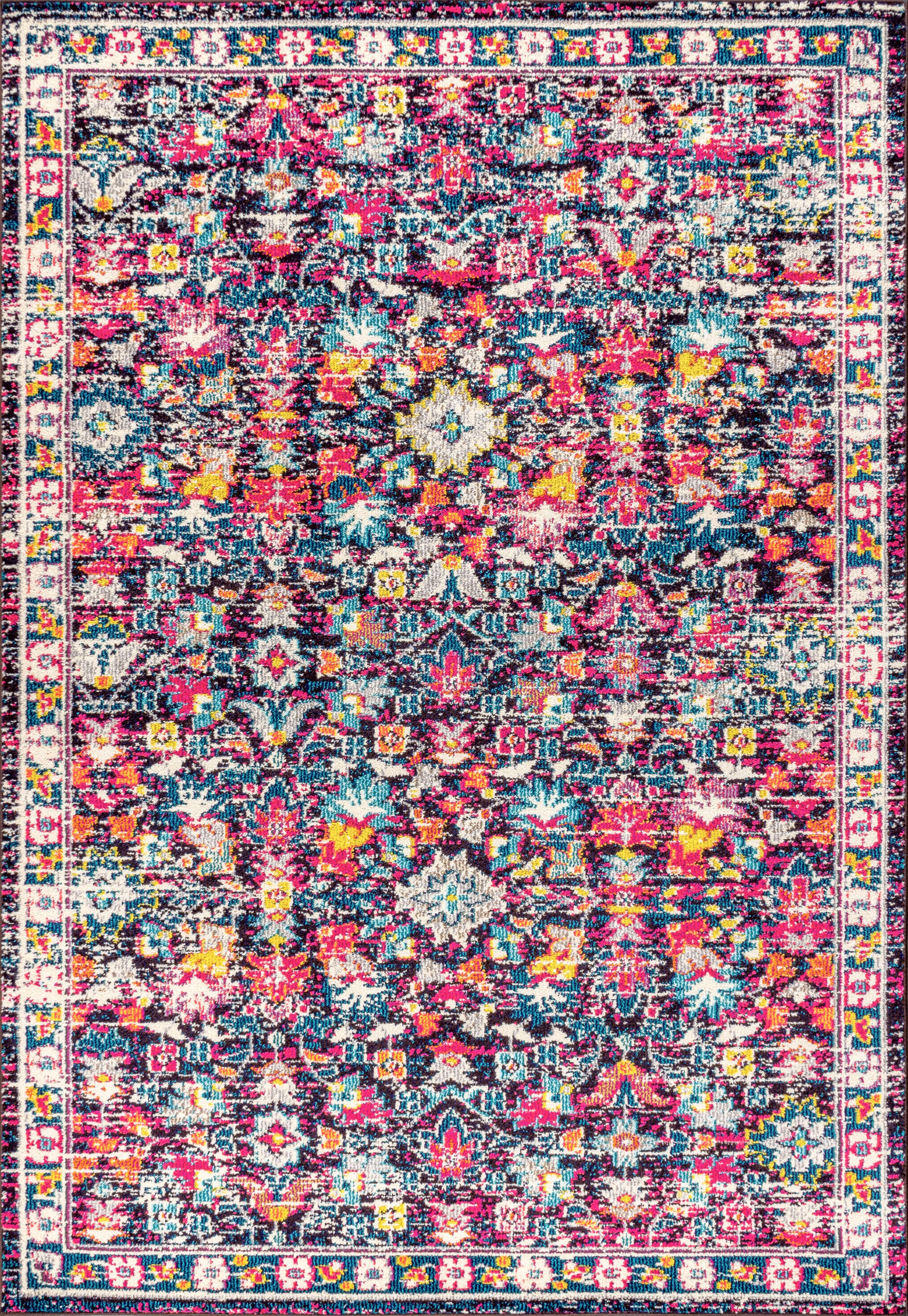 Modern Persian Boho Floral Multi/Purple 3 ft. x 5 ft. Area Rug