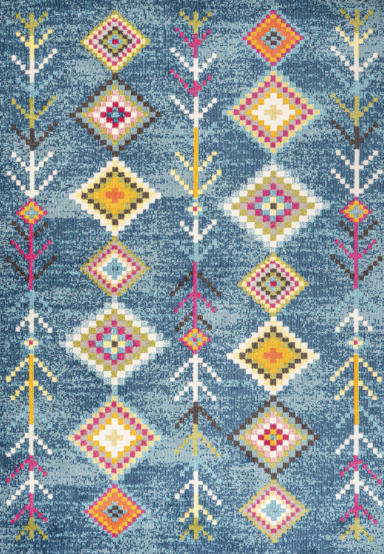 Tribal Love Geometric Dark Blue/Multi 3 ft. x 5 ft. Area Rug