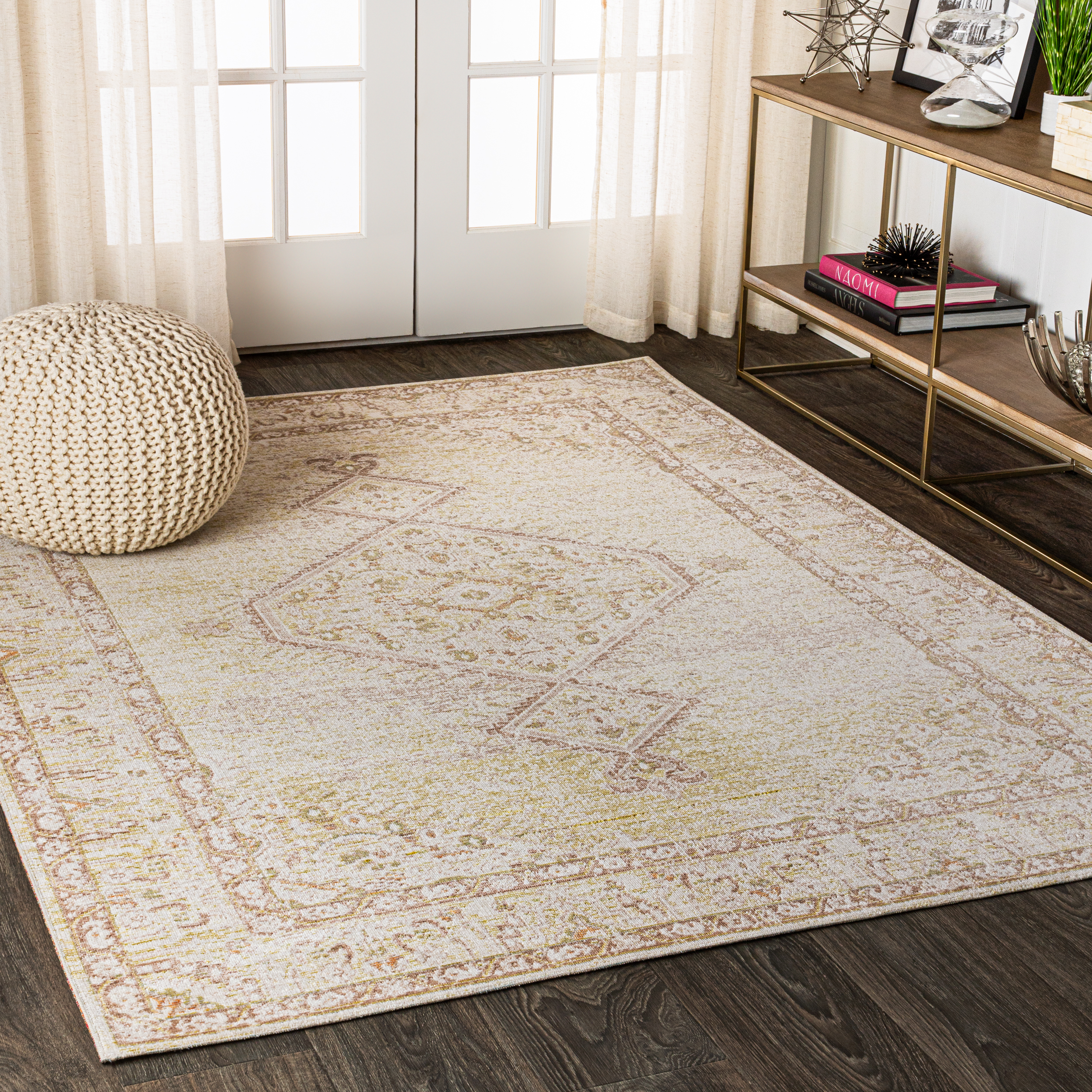 Lila Modern Tribal Medallion Ivory 3 ft. x 5 ft. Area Rug