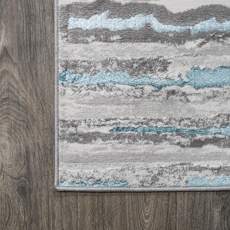 Batten Modern Stripe Gray/Turquoise 2 ft. x 10 ft. Runner Rug