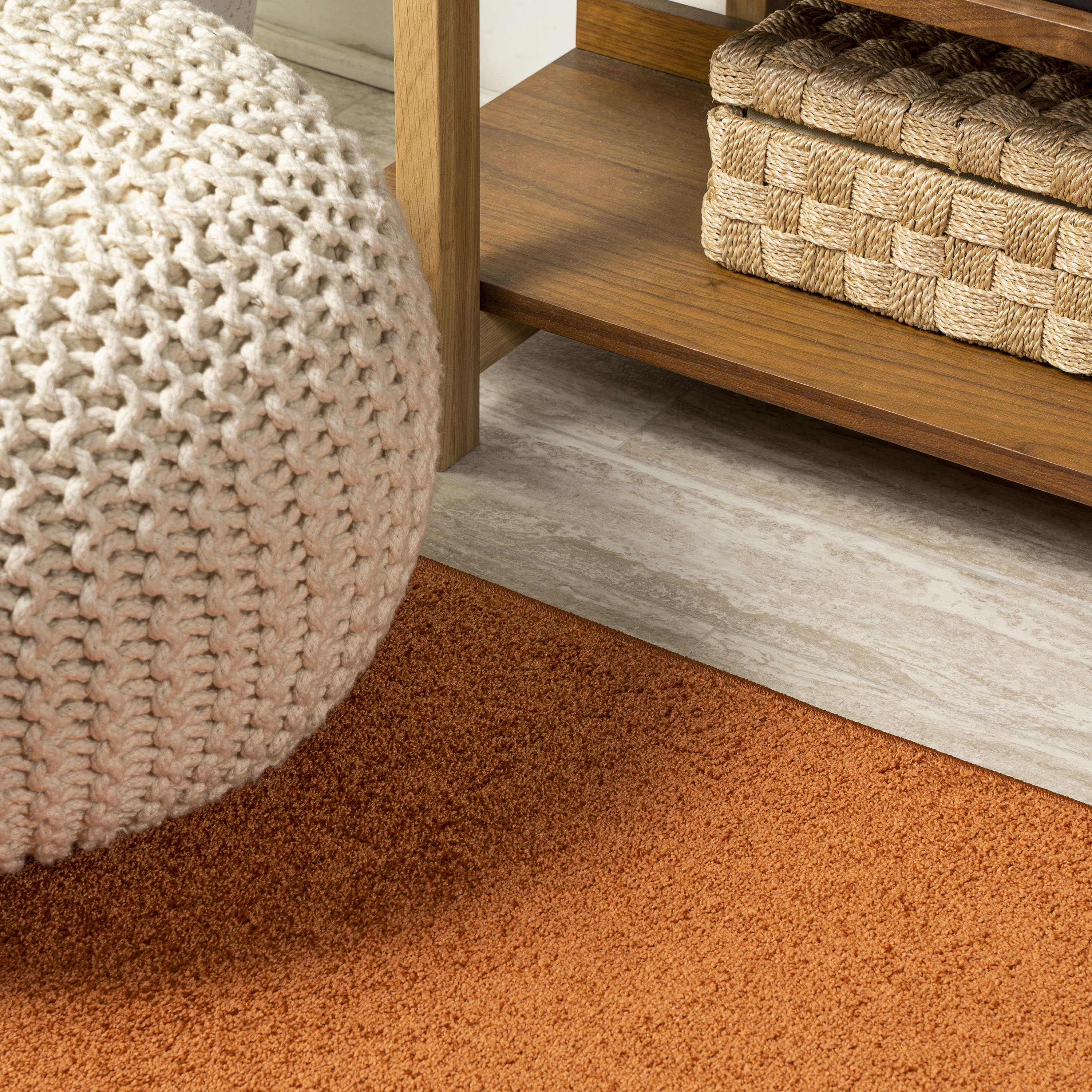 Haze Solid Low-Pile Orange 3 ft. x 5 ft. Area Rug