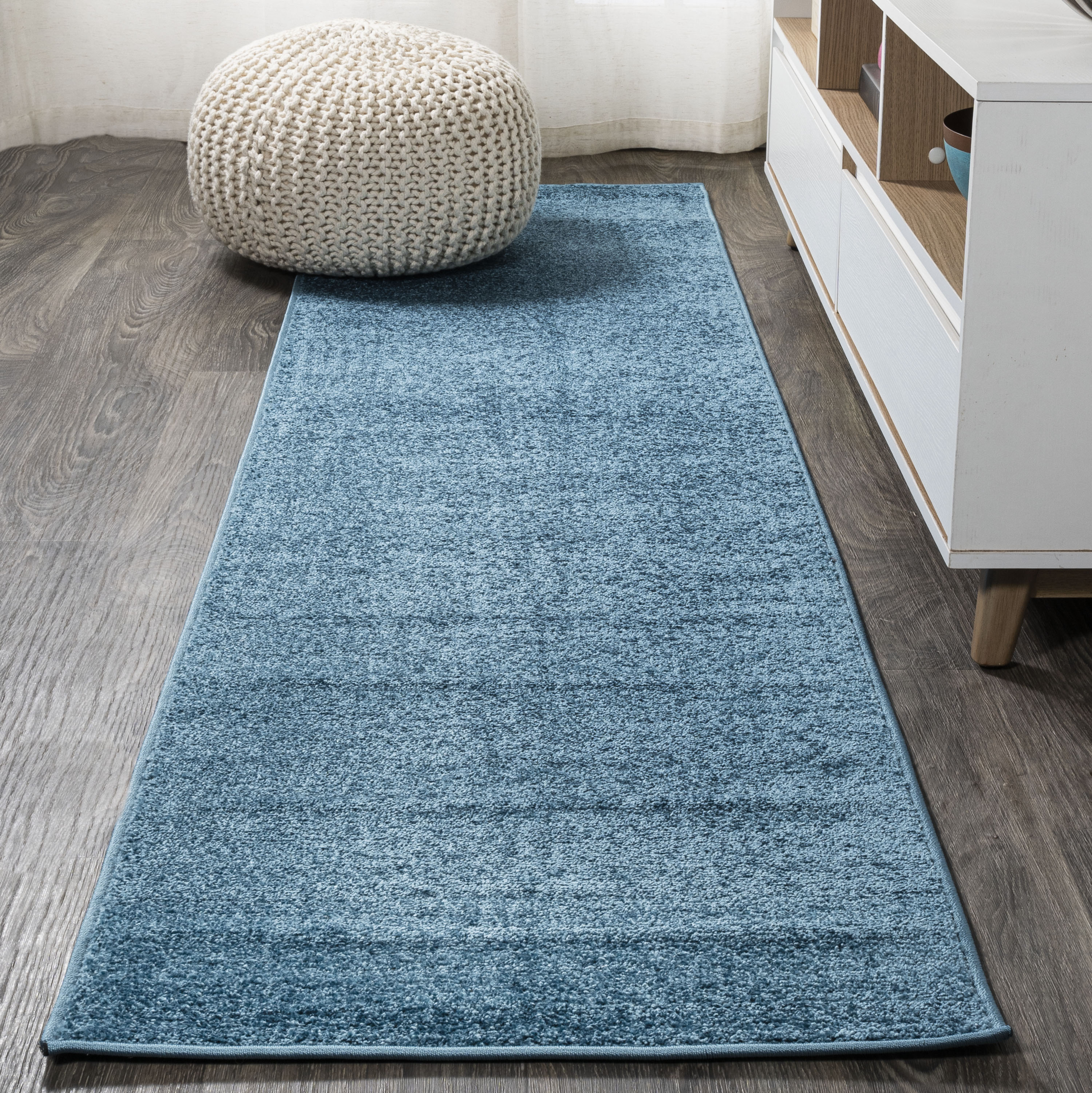 Haze Solid Low-Pile Turquoise 2 ft. x 8 ft. Runner Rug