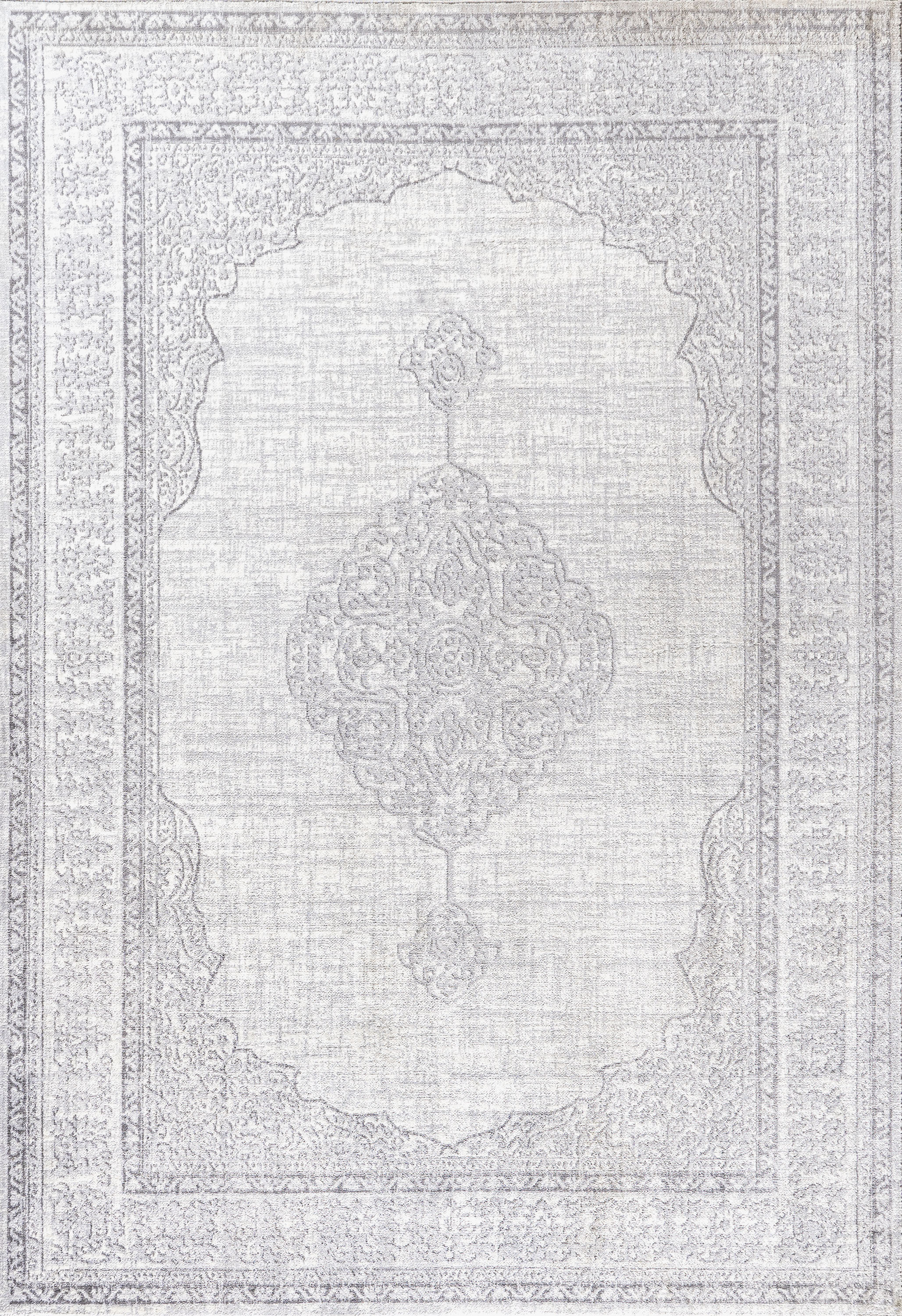 Mughal Ornate Medallion Traditional Gray 3 ft. x 5 ft. Area Rug