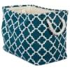 Polyester Bin Lattice Teal Rectangle Medium 16x10x12