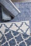 Blue Lattice Hand-Loomed Rug 2x3-ft