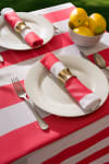 Coral Cabana Stripe Outdoor Tablecloth 60 Round