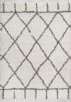 Shag Plush Tassel Moroccan Geometric Trellis Cream/Grey 3' x 5' Area Rug