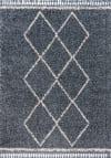 Shag Plush Tassel Moroccan Tribal Geometric Trellis Denim Blue/Cream Area Rug
