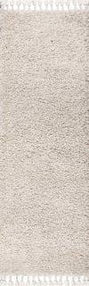 Shag Plush Tassel Cream 2.25' x 8' Runner Rug