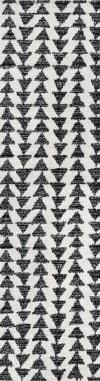 Moroccan Triangle Geometric  Cream/Black 2.25' x 8' Runner Rug
