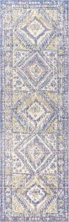 Ornate Geometric Medallion Blue 2' x 8' Runner Rug