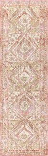 Ornate Geometric Medallion Pink 2' x 8' Runner Rug