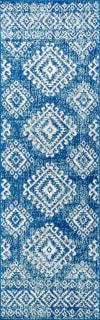 Moroccan HYPE Boho Vintage Tribal Blue/White 2' x 8' Runner Rug