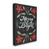 Merry and Bright Festive Christmas Text Poinsettia Wall Art