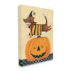 Vintage Carved Pumpkin Halloween Dog Illustration Wall Art