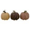 Set of 3 Brown and Purple Fall Harvest Tabletop Pumpkins