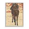 Abstract Vintage Ram Round Animal Horns Gray  Oversized Framed Giclee Texturized Art by Ziwei Li 16 x 20