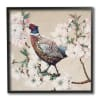 Vintage Wild Turkey on Pink Tree Blossoms Black Framed Giclee Texturized Art