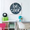 Be Cool Phrase Blue Camouflage Pattern Circle Wall Art