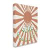 Playful Hello Sunshine Phrase Orange Sun Burst Stretched Canvas Wall Art by Daphne Polselli 16 x 20