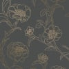 Peonies Noir Self-Adhesive Removable Wallpaper Double Roll