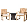 Terrace Outdoor Acacia Wood 3-Piece Set with Wicker Table