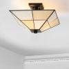 Tiffany-Style Glass/Metal LED Semi-Flush Mount, White/Cream