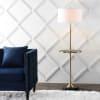 Metal/Wood Floor Lamp with Table, Black/Brass