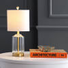 Glass/Metal Table Lamp, Brass/Clear