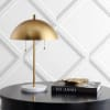 Dome Metal with Marble Base Table Lamp, Gold/White