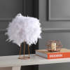Feather Metal Table Lamp, White/Gold