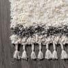 Shag Plush Tassel Moroccan Tribal Geometric Trellis Cream/Grey Area Rug