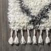 Shag Plush Tassel Moroccan Tribal Geometric Trellis Cream/Grey 3' x 5' Area Rug