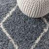 Shag Plush Tassel Moroccan Tribal Geometric Trellis Denim Blue/Cream 3' x 5' Area Rug