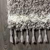 Shag Plush Tassel Moroccan Tribal Geometric Trellis Grey/Cream 2.25' x 8' Runner Rug