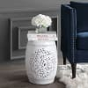 Tree of Life Ceramic Garden Stool, White
